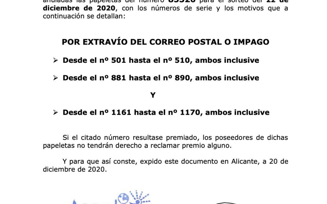 COMUNICADO SOBRE PAPELETAS ANULADAS CORRESPONDIENTES  AL SORTEO DE NAVIDAD QUE SE CELEBRARÁ EL 22 de diciembre de 2020